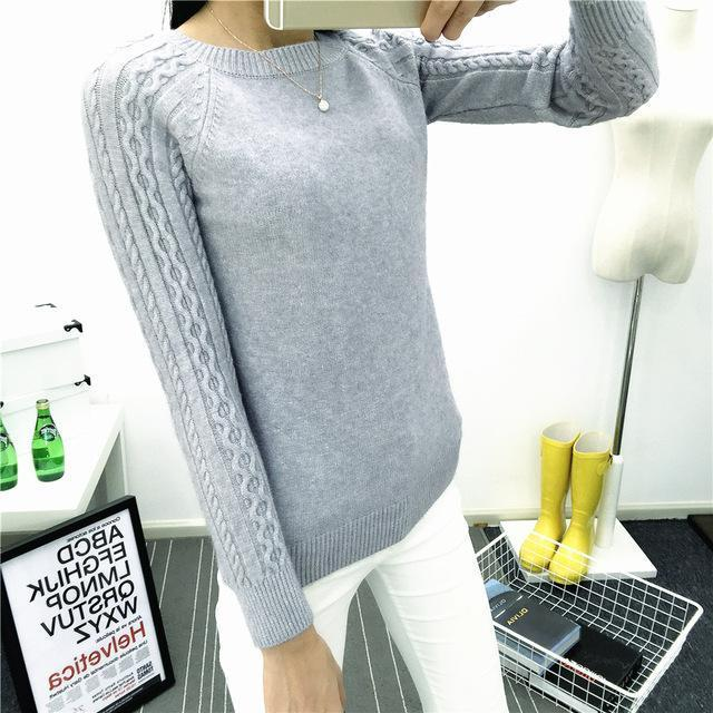 O-Neck Twisted Flower Sweater Women Winter Cashmere Femme Jumpers Long Sleeve Warm Soft Women-Sweaters-GODDESS WAY Store-Gray-S-EpicWorldStore.com