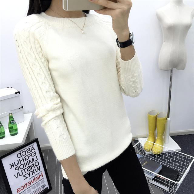 O-Neck Twisted Flower Sweater Women Winter Cashmere Femme Jumpers Long Sleeve Warm Soft Women-Sweaters-GODDESS WAY Store-White-S-EpicWorldStore.com
