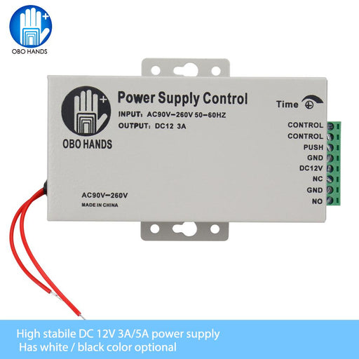 Obo Hands 12Vdc Access Control Power Supply Switch 3A/5A Time Delay Adjustable Ac90V-260V Input-OBO HANDS Official Store-K80 3A White-EpicWorldStore.com