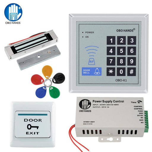 Obo Hands Rfid Keypad Door Access Control System Kit Electric Magnetic Electronic Door Lock+Power-OBO HANDS Official Store-keypad with keys-EpicWorldStore.com