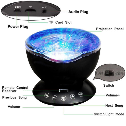 Ocean Wave Projector Night Lights Starry Sky Aurora Music Player Led Usb Lighting Lamp Party Play-LED Night Lights-WHATOOK Official Store-Black-EpicWorldStore.com