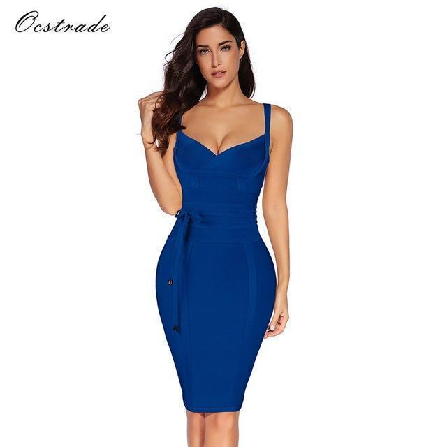 Ocstrade Women Bandage Dress Rayon Sleeveless Summer Stylish Deep V Neck Vestido Bodycon-Dresses-Ocstrade Official Store-Blue-XS-EpicWorldStore.com