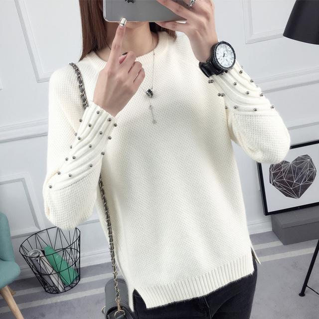 Ohclothing New Spring Korean Short All-Match Winter Sweater Knitted Shirt With Long Sleeves-Sweaters-100 OHCH Store-bead white-S-EpicWorldStore.com