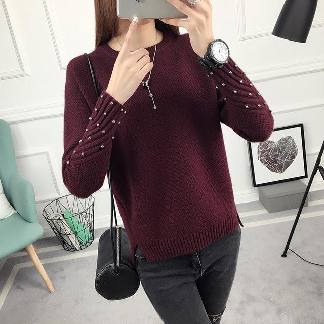 Ohclothing New Spring Korean Short All-Match Winter Sweater Knitted Shirt With Long Sleeves-Sweaters-100 OHCH Store-bead Wine red-S-EpicWorldStore.com