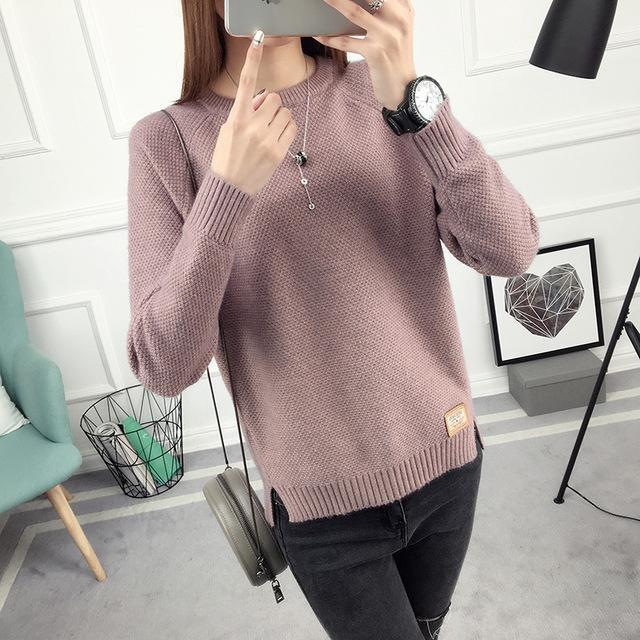 Ohclothing New Spring Korean Short All-Match Winter Sweater Knitted Shirt With Long Sleeves-Sweaters-100 OHCH Store-Brand Pink purple-S-EpicWorldStore.com