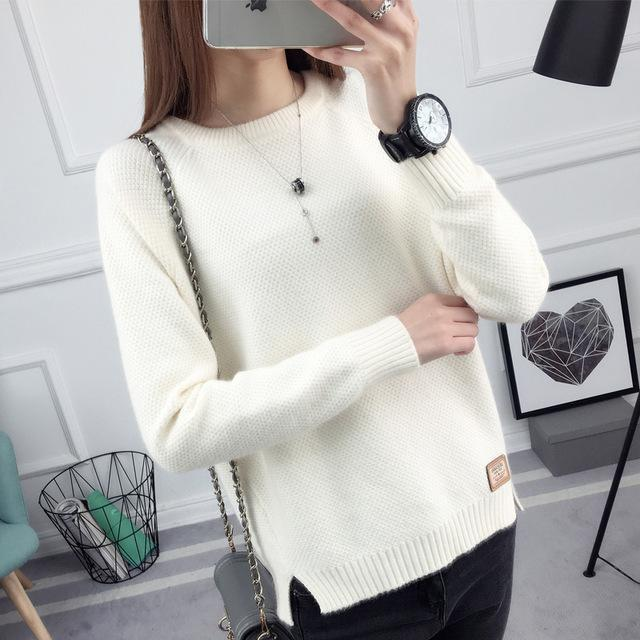 Ohclothing New Spring Korean Short All-Match Winter Sweater Knitted Shirt With Long Sleeves-Sweaters-100 OHCH Store-Brand white-S-EpicWorldStore.com