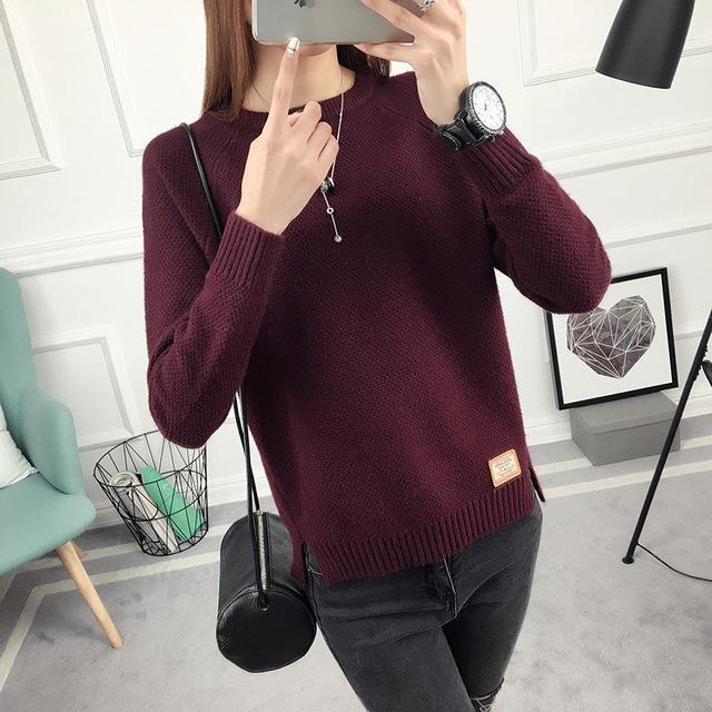 Ohclothing New Spring Korean Short All-Match Winter Sweater Knitted Shirt With Long Sleeves-Sweaters-100 OHCH Store-Brand Wine red-S-EpicWorldStore.com