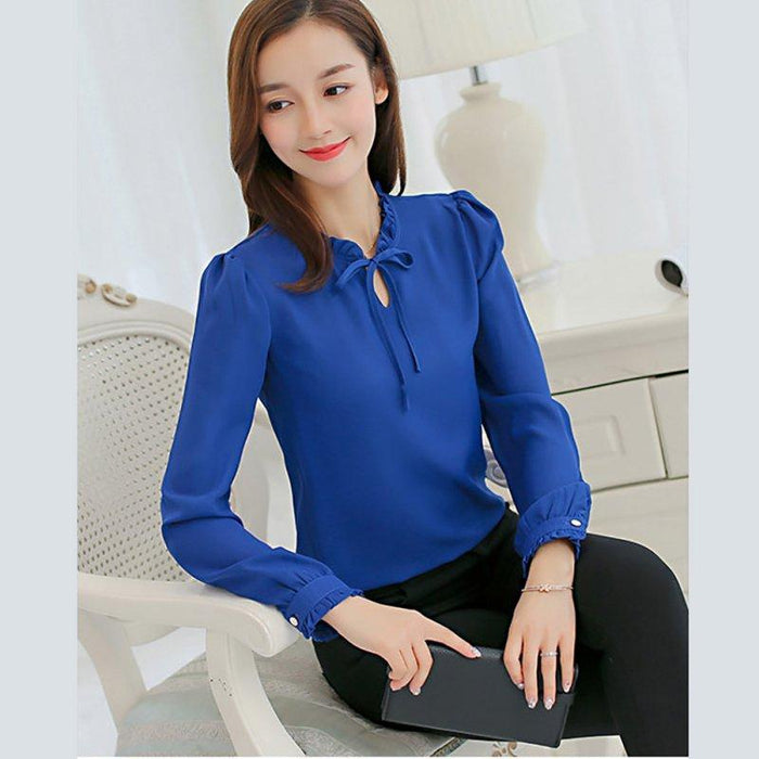 Oioninos New Women Shirts Long Sleeve Stand Collar Bow Blouses Elegant Ladies Chiffon Blouse-Blouses & Shirts-oioninos sweety Store-Black-S-EpicWorldStore.com