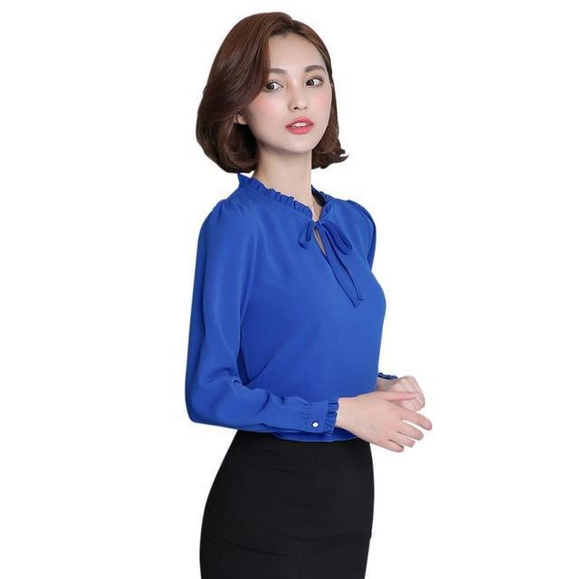 Oioninos New Women Shirts Long Sleeve Stand Collar Bow Blouses Elegant Ladies Chiffon Blouse-Blouses & Shirts-oioninos sweety Store-Blue-S-EpicWorldStore.com