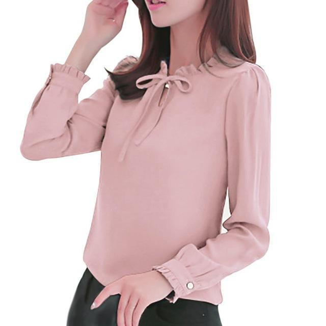 Oioninos New Women Shirts Long Sleeve Stand Collar Bow Blouses Elegant Ladies Chiffon Blouse-Blouses & Shirts-oioninos sweety Store-Pink-S-EpicWorldStore.com