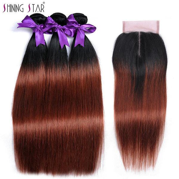 Ombre Brazilian Straight Hair Weave 3 Bundles With Closure T1b 33