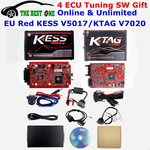 Online Eu Red Kess V5.017 Kess V2 5.017 Obd2 Manager Tuning Kit Red Ktag V7.020 No Token K-Tag 7.020-Car Repair Tools-ShenZhen The Best One Technology Limited-KESS V5017 Red PCB-EpicWorldStore.com