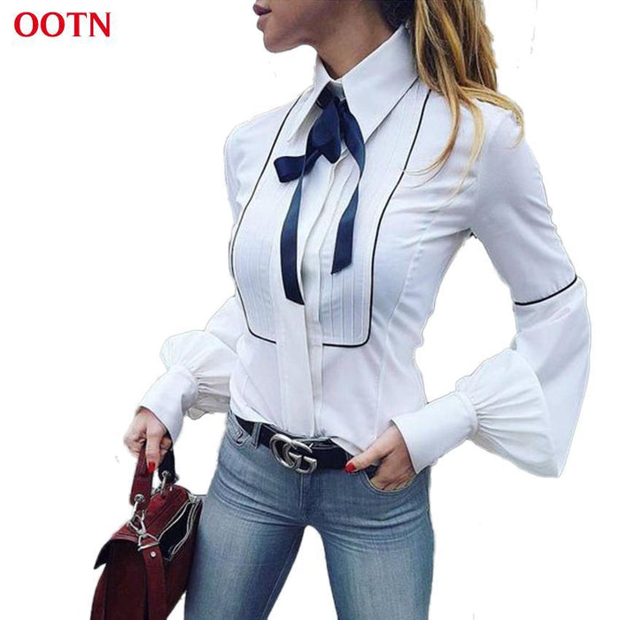 d90c119c Ootn Office Bow Tie Blouses Women Lantern Sleeve White Blue Tunic Button  Down Shirts Female-
