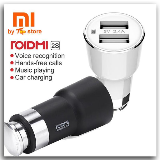 Original Xiaomi Roidmi 2S Bluetooth Handfree Car Charger With Mic & Music Player Speaker Dual Usb 5V-Speakers-Xiao-mi Top Store-Roidmi 2S black-EpicWorldStore.com