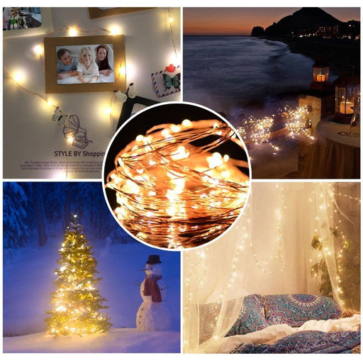 Osiden 2M 5M 10M 100 Led Strings Copper Wire 3Xaa Battery Operated Christmas Wedding Party-Holiday Lighting-OSIDEN Official Store-Sliver Wire-2Meter 20Led-White-EpicWorldStore.com