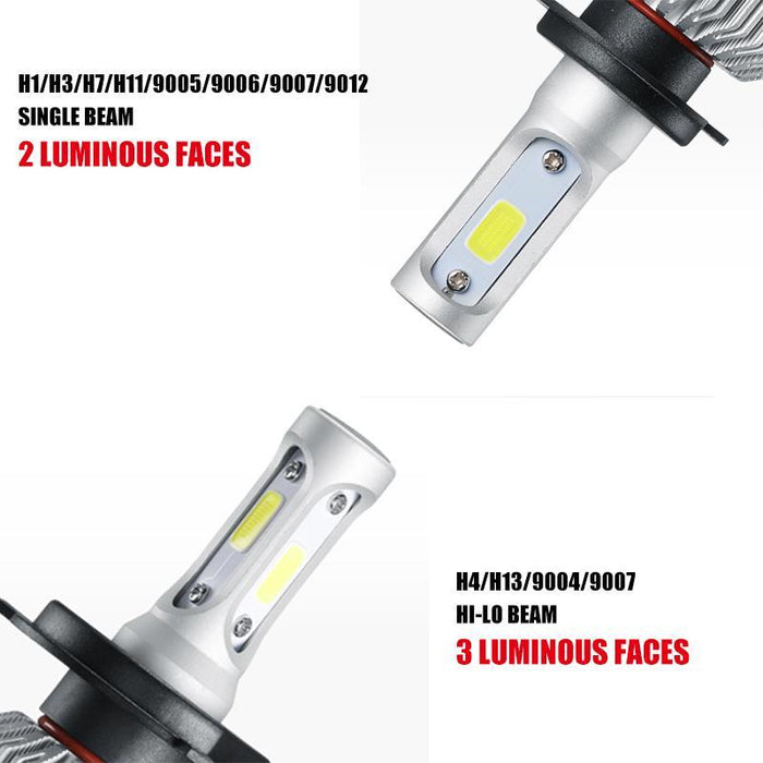 Oslamp H4 H7 H11 H1 H3 9005 9006 Cob Led Car Headlight Bulbs Hi-Lo Beam 72W  8000Lm 6500K Auto