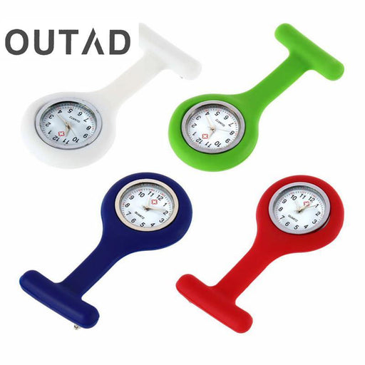 Outad 1Pcs Nurses Pocket Watch Mini Portable Silicone Doctor Fob Watch Multiple Colors Brooch Pin-Pocket & Fob Watches-1993 Store-Black-EpicWorldStore.com