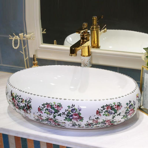 Oval Jingdezhen Bathroom Ceramic Sink Wash Basin Counter Top Wash Basin Bathroom Sinks Antique-Bathroom Sinks-China Art Bathroom Sinks-EpicWorldStore.com