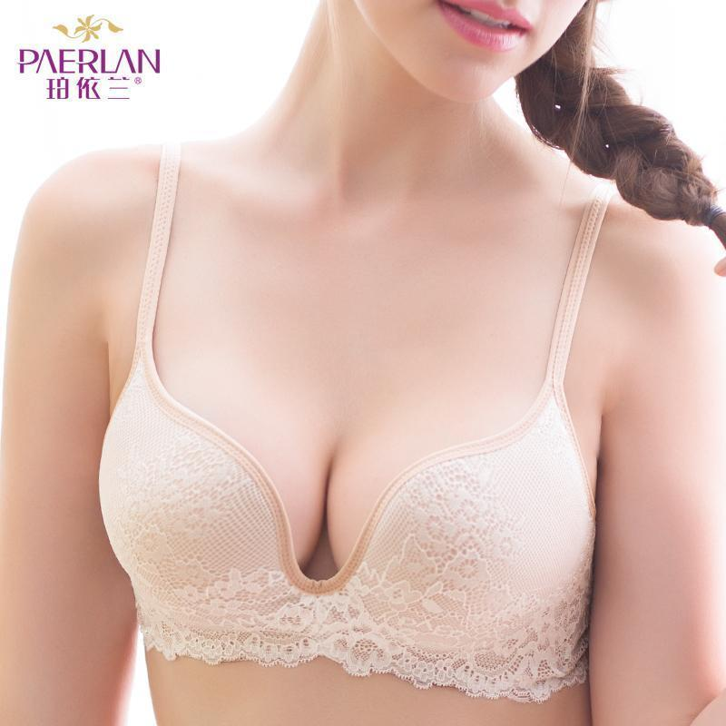 Paerlan Seamless Wire Free Lace Bra Small Breasts Push Up One - Piece Stylish Back Closure Tow-Bras-PAERLAN Official Store-black-70A-EpicWorldStore.com