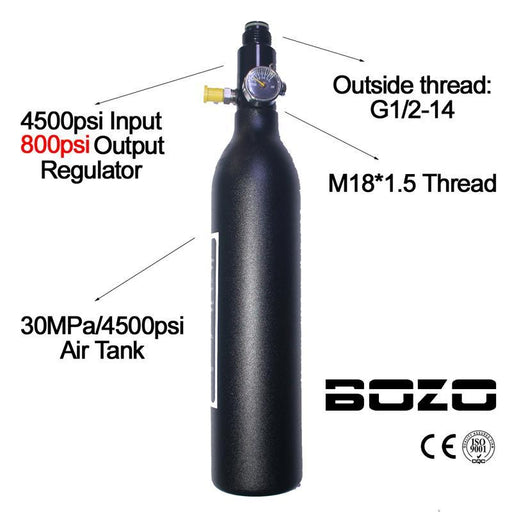 Paintball Pcp Diving Mountaineering Air Tank Cylinder 4500Psi/30Mpa 0.2 0.35 0.45L Hpa High-Shooting-BOZOARMS PAINTBALL Store-0.35L 800psi output-EpicWorldStore.com