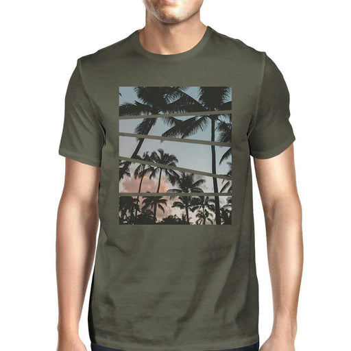 Palm Tree Split Photo Mens Unique Graphic Top Perfect Summer Shirt-Apparel & Accessories-365 Printing-2X-LARGE-EpicWorldStore.com