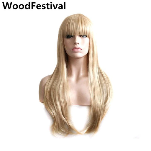 Party Ladies Wigs Blond Wig Straight Hair Heat Resistant Long Blonde Wig With Bangs Synthetic Wigs-WoodFestival synthetic hair wigs Store-EpicWorldStore.com