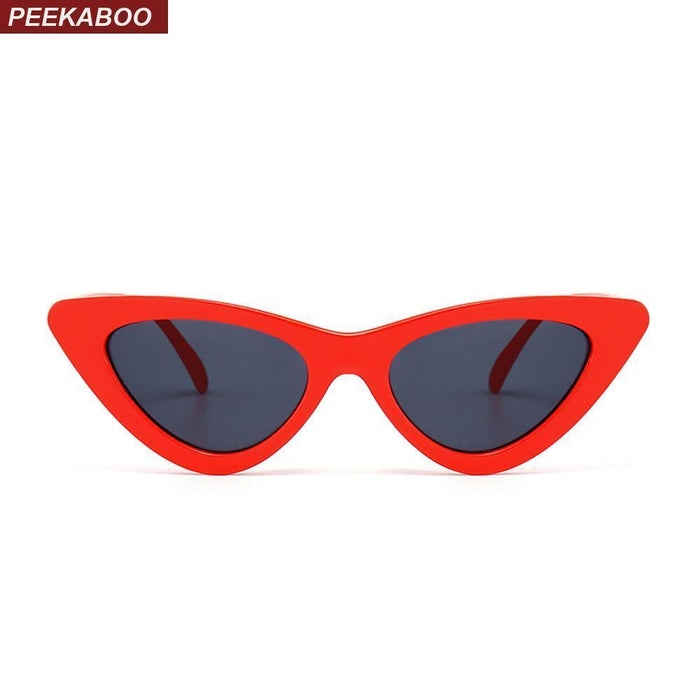 Peekaboo Cute Stylish Retro Cat Eye Sunglasses Women Small Black White Triangle Vintage Cheap-Accessories-peekaboo Official Store-red with clear lens-EpicWorldStore.com