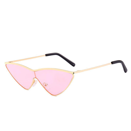 Peekaboo Red Triangle Sunglasses Women Cat Eye Metal Green Pink One Piece Lens Small Sun-Sunglasses-Boutique tesco-clear green-EpicWorldStore.com