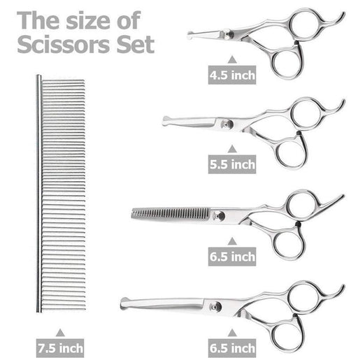 Pet Dog Grooming Scissors Set Stainless Steel Safety Round Scissors Cat Animal Hair Cutting Thinning-Home-Shop5601048 Store-Silver-EpicWorldStore.com