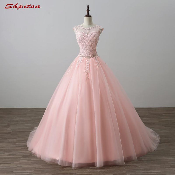 2cedf4bbc13 Pink Ball Gown Princess Quinceanera Dresses Girls Beaded Masquerade Prom  Sweet 16 Dresses Ball Gowns-