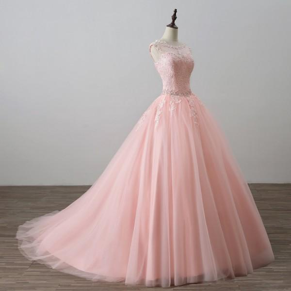 e5e9ff79b98de Pink Ball Gown Princess Quinceanera Dresses Girls Beaded Masquerade Prom  Sweet 16 Dresses Ball Gowns-