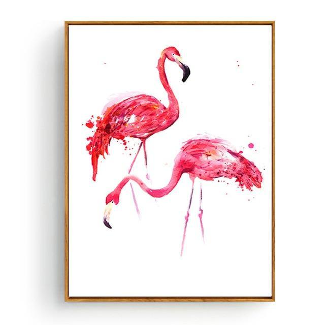 Pink Flamingos Series Love Bird Poster Wall Art Watercolor Pictures Canvas Painting Prints For-Painting & Calligraphy-Love Painting-10x15cm No Frame-Black-EpicWorldStore.com