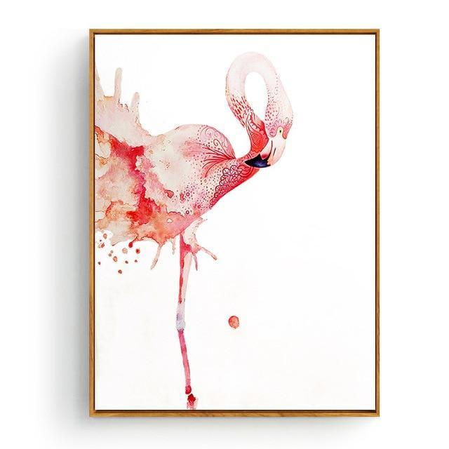 Pink Flamingos Series Love Bird Poster Wall Art Watercolor Pictures Canvas Painting Prints For-Painting & Calligraphy-Love Painting-10x15cm No Frame-Burgundy-EpicWorldStore.com