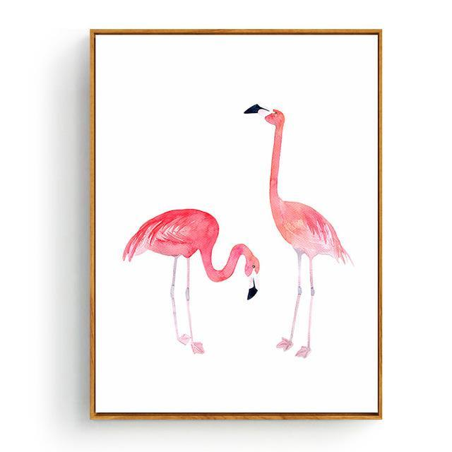 Pink Flamingos Series Love Bird Poster Wall Art Watercolor Pictures Canvas Painting Prints For-Painting & Calligraphy-Love Painting-10x15cm No Frame-Light Grey-EpicWorldStore.com