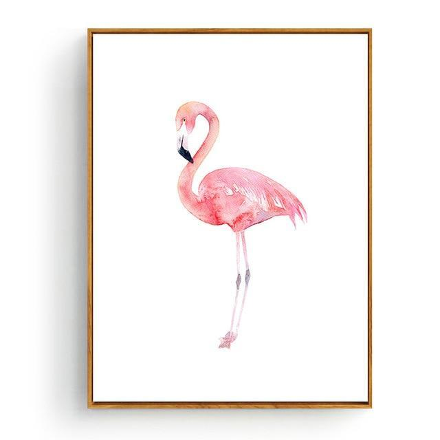 Pink Flamingos Series Love Bird Poster Wall Art Watercolor Pictures Canvas Painting Prints For-Painting & Calligraphy-Love Painting-10x15cm No Frame-Navy Blue-EpicWorldStore.com
