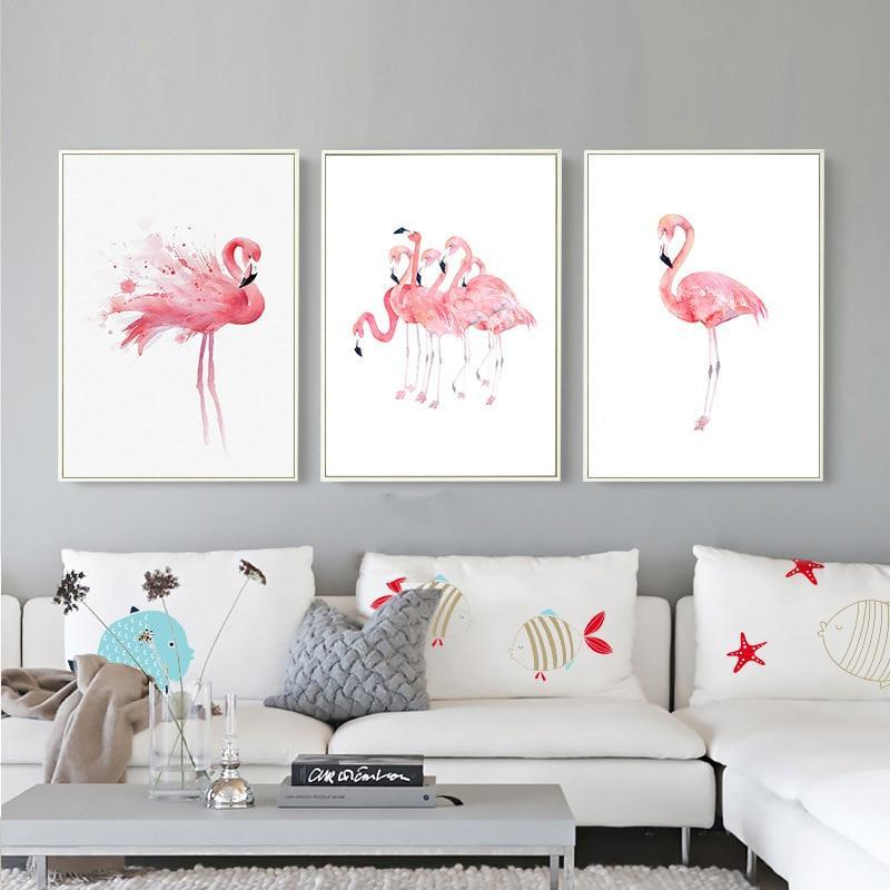 Pink Flamingos Series Love Bird Poster Wall Art Watercolor Pictures Canvas Painting Prints For-Painting & Calligraphy-Love Painting-10x15cm No Frame-White-EpicWorldStore.com