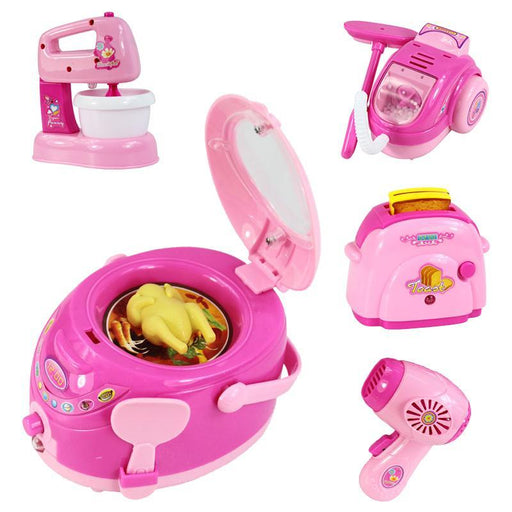 Pink Household Appliances Children Pretend Play Kitchen Toys Toaster Vacuum Cleaner Cooker Blender-Pretend Play-Greative Trande Apaffa Store-A-EpicWorldStore.com
