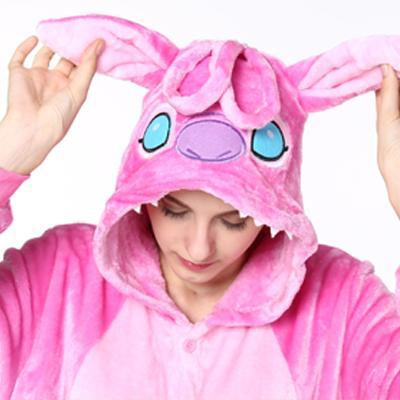 16a93195a Pink Unicorn Pajamas Sets Flannel Animal Pajamas Winter Nightie Stitch  Unicornio Women Men Adults-Sleep