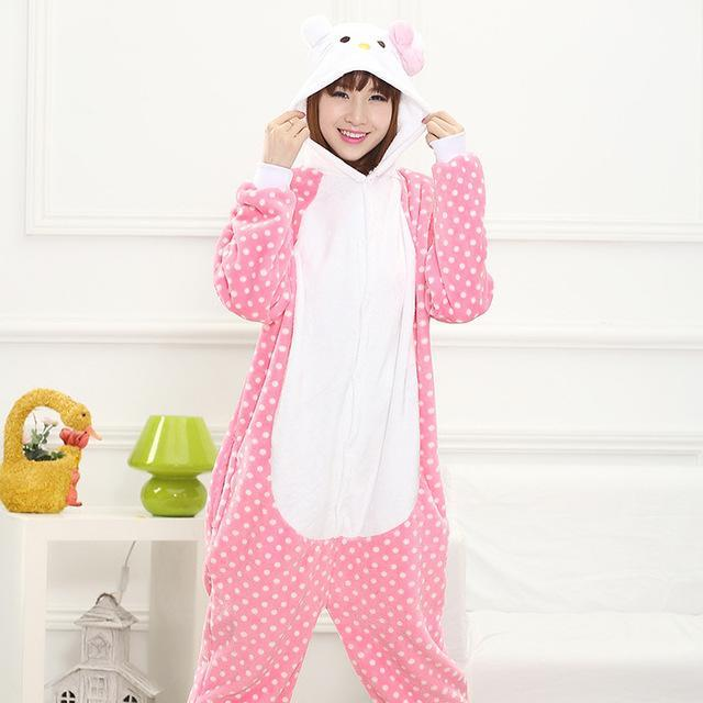 8a63ec0b57 Pink Unicorn Pajamas Sets Flannel Pajamas Winter Nightie Stitch Pyjamas For Women  Adult Sleepwear-Sleep