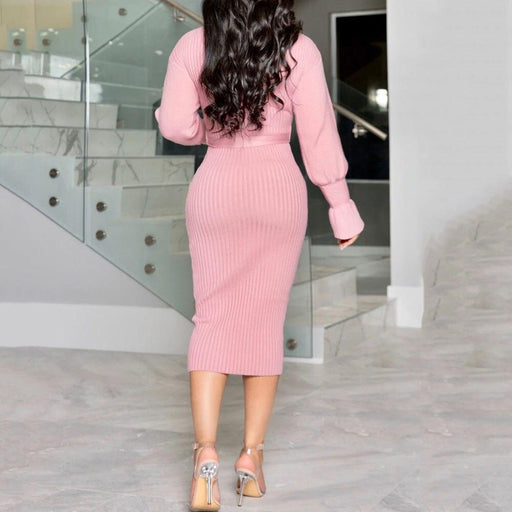 Pink Winter Sweater Dress Elegant Women Turtleneck Long Sleeve Bodycon Belt Autumn Office Ladies-Home-Clocolor Shop Store-Pink-M-EpicWorldStore.com