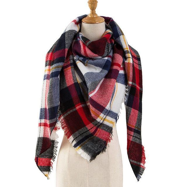 Pinmi Black Plaid Winter Scarf Women Luxury Brand Warm Cashmere Scarves And Shawls Large-Accessories-PINMI Official Store-A1-EpicWorldStore.com