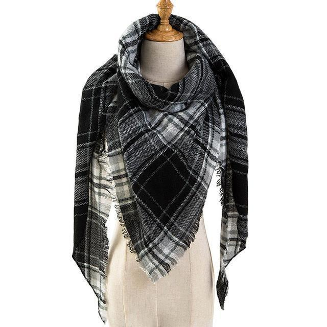 Pinmi Black Plaid Winter Scarf Women Luxury Brand Warm Cashmere Scarves And Shawls Large-Accessories-PINMI Official Store-A10-EpicWorldStore.com