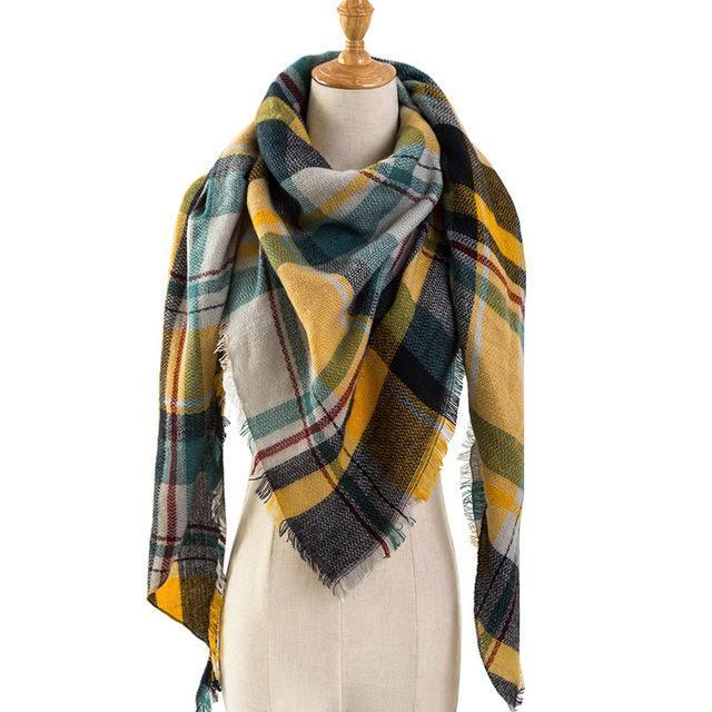 Pinmi Black Plaid Winter Scarf Women Luxury Brand Warm Cashmere Scarves And Shawls Large-Accessories-PINMI Official Store-A13-EpicWorldStore.com