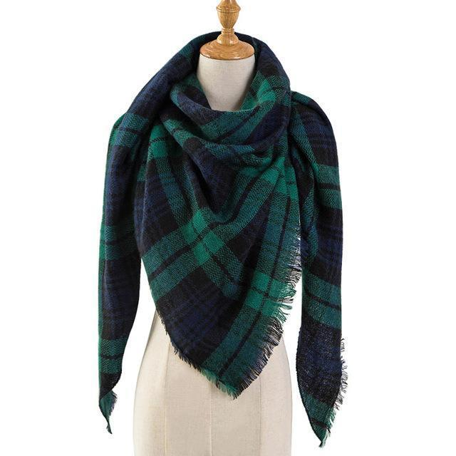 Pinmi Black Plaid Winter Scarf Women Luxury Brand Warm Cashmere Scarves And Shawls Large-Accessories-PINMI Official Store-A16-EpicWorldStore.com