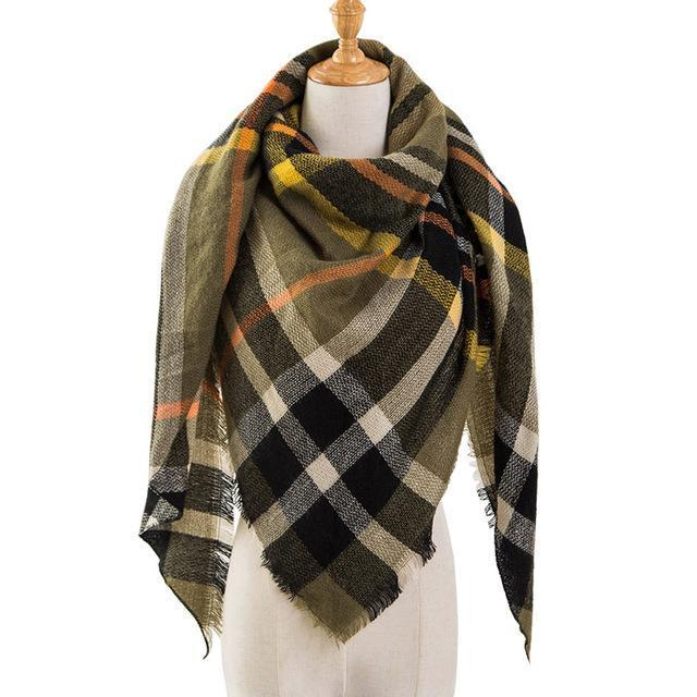 Pinmi Black Plaid Winter Scarf Women Luxury Brand Warm Cashmere Scarves And Shawls Large-Accessories-PINMI Official Store-A18-EpicWorldStore.com
