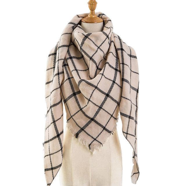 Pinmi Black Plaid Winter Scarf Women Luxury Brand Warm Cashmere Scarves And Shawls Large-Accessories-PINMI Official Store-A19-EpicWorldStore.com