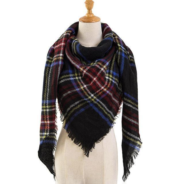 Pinmi Black Plaid Winter Scarf Women Luxury Brand Warm Cashmere Scarves And Shawls Large-Accessories-PINMI Official Store-A6-EpicWorldStore.com
