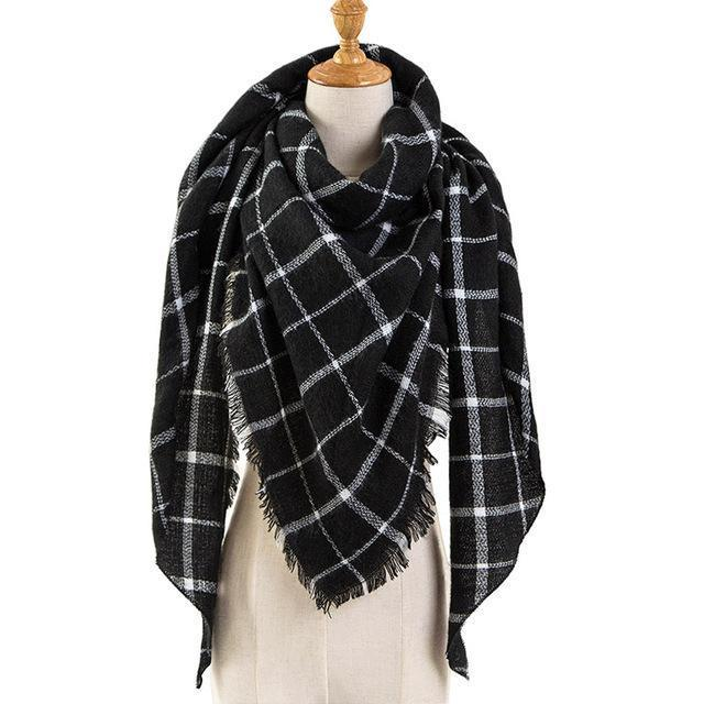 Pinmi Black Plaid Winter Scarf Women Luxury Brand Warm Cashmere Scarves And Shawls Large-Accessories-PINMI Official Store-A7-EpicWorldStore.com
