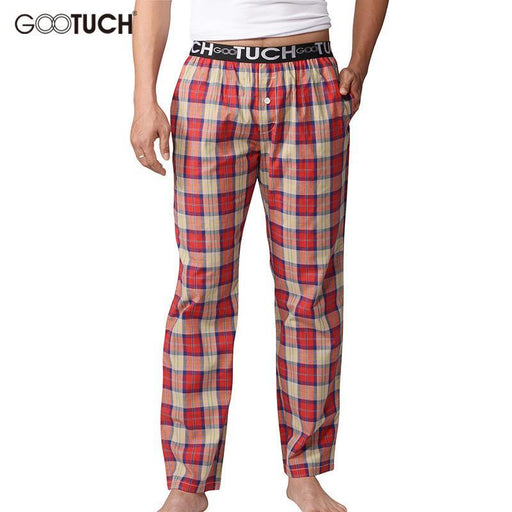 Plaid Mens Sleep Bottoms Check Pajama Pants Men Underwear Piyamas Trousers Woven Mens Lounge-Sleep & Lounge-Gootuch Official Store-NAVY-M-EpicWorldStore.com
