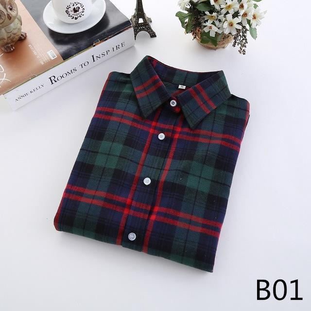 Plaid Shirt Female College Style Womens Blouses Long Sleeve Flannel Shirt Plus Size-Blouses & Shirts-FEICHUAN Store-B01-M-EpicWorldStore.com
